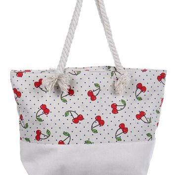 Cherry Print Canvas Soft Rope Beach Bag