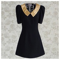 Stunning Sequin Collar vintage short sleeve dress