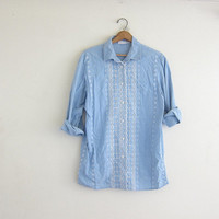 vintage light blue button up shirt. oversized cotton shirt. slouchy eyelet lace women's shirt.