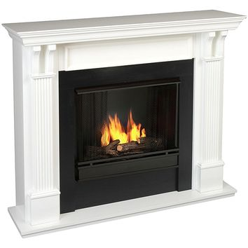Real Flame Ashley White 48.03 in. L x 13.78 W x 41.25 in. H Gel Fuel Fireplace | Overstock.com Shopping - The Best Deals on Indoor Fireplaces