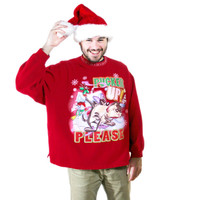 """Pucker Up Please"" Looney Tunes Tasmanian Devil Tacky Ugly Christmas Sweatshirt - The Ugly Sweater Shop"