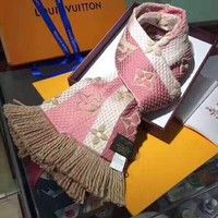 LV Popular Women Sweet Louis Vuitton Jacquard Cashmere Cape Scarf Scarves Shawl Accessories