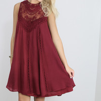 Sunsets in Italy Burgundy Trapeze Dress With Crochet Lace Details & Keyhole Back
