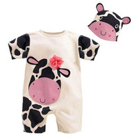 Cute Baby Children's Cartoon Cow Short-Sleeved Romper Crawling Clothes Coverall with Hat = 1843179012