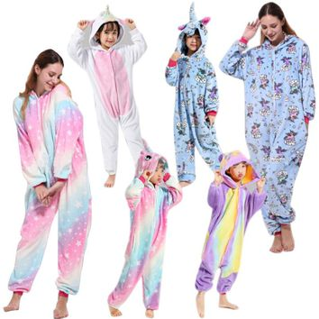 Pink Unicorn Pajamas Sets Flannel Kids Animal Pajamas Winter Nightwear Stitch Zipper Sleepwear for Women Men Adults Halloween
