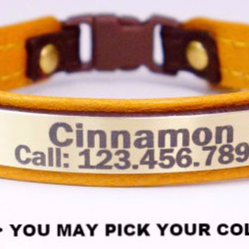 "Cat Collar: Leather on Leather 3/8"" Wide Personalized with Breakaway Buckle"