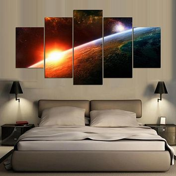 Wall Art Canvas Painting Poster Wall Pictures For Living Room 5 Panel Beautiful Planets Home Decor Modular Pictures PENGDA