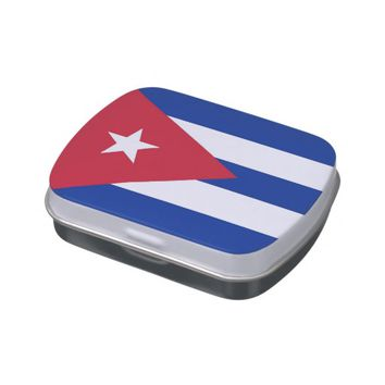 Patriotic candy tins with Flag of Cuba