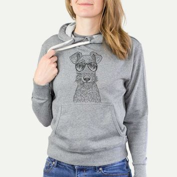 Fitz the Wire Fox Terrier - Grey French Terry Hooded Sweatshirt