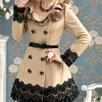 Camel Color Lace Coat with Belt