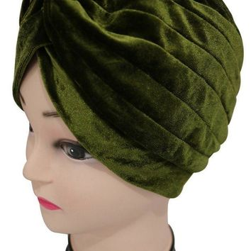 PEAPU3S 2017  New Europe Women Winter Fashion Black Grey Amy Green Pink Plain Color Velvet Muslim Turban Hats  Indian Caps