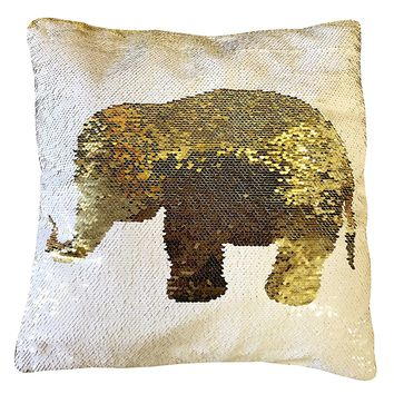 "16""x16"" with INSERT Mermaid Flip Sequin Pillow that Changes Color-White Gold Elephant"