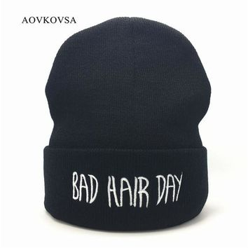 DCCKL3Z AOVKOVSA Bad Hair Day Winter Men Knitted Hat 2017 Fashion Casual Gorros Elastic Bonnet Skullies Women Beanies Cap