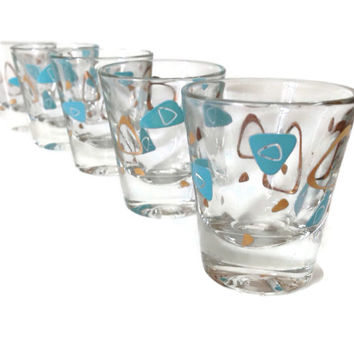Atomic Barware-Mid Century Shot Glasses-Cocktail Glasses-Turquoise and Gold-Mid Century Modern-Set of 5-Retro Barware-Home Decor-