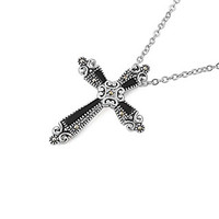 Rhodium Plated Necklace with Fancy Cross Pendent, Length 16