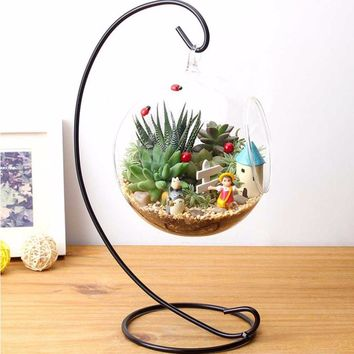 DIY Hanging Crystal Flower Vase Planter Terrarium Container Vases Pot Home Wedding Desk Party Christmas Decor Diameter 9cm