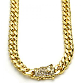 Gold Layered 03.278.0004.30 Basic Necklace, Curb Design, with White Cubic Zirconia, Polished Finish, Golden Tone