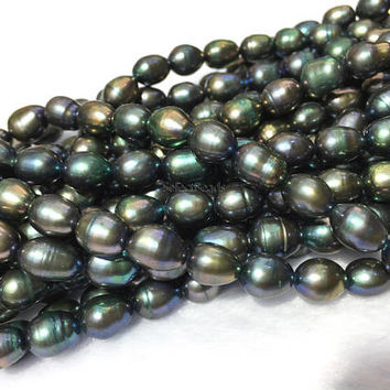 peacock green pearl beads - dyed freshwater pearl beads - genuine farmed pearls - cultured rice pearls - pearl beads for jewelry  -15inch