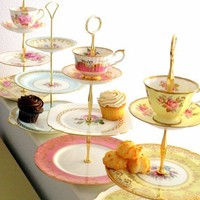 High Tea for Alice CUSTOM 3 Tier Tea & Cupcake by highteaforalice