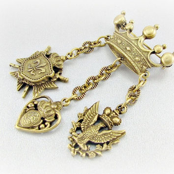 Vintage Heraldic Brooch Pin, Brass Dangle Charm Brooch, Lion Falcon Sword Shield Maltese Cross Fleur De Lis Charms, 1950s Medieval Jewelry