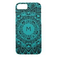 Mint Green Mandala Monogram Customizable Color iPhone 7 Case