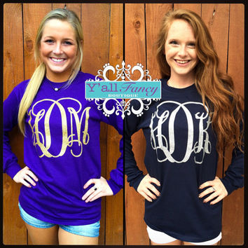 Long Sleeve Custom Vinyl Monogrammed Glitter option T Shirt Sparkly Large Initial Shirt Gildan Brand - Yall Fancy
