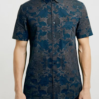 Grey Floral Short Sleeve Shirt - Topman