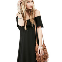 Black Fringed Off-shoulder Loose Dress