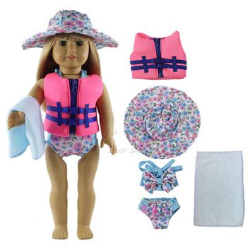 Swimming Pool beach 1 Set Blue Swimming Suit Equipment Outfit Doll Clothes for 18'' American Girl A46Swimming Pool beach KO_14_1