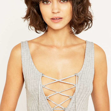 Project Social T Lace-Up Ribbed Grey Tank Top - Urban Outfitters