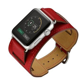 CRESTED Leather cuff bracelets watch band for apple watch hermes bracelet 38mm 42mm & genuine Leather strap watchband watch