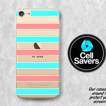 Coral Mint Stripes Clear iPod 5 Case iPod 6 Case iPod 5th Generation iPod 6th Generation Rubber Case Gen Clear Case Mint Blue Coral Pattern