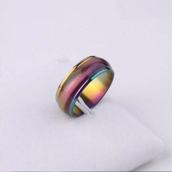 Fashion Men Women Rainbow Colorful Ring Titanium Steel Wedding Band Ring Width 4mm Size 5 13 Gift Free Shopping