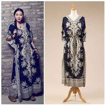 Vestidos Dark Blue/Green/Purple/Red Female Summer Boho Long Dress Casual Loose Printing Kaftan Ethnic Rayon Maxi Dresses K03