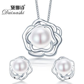 2015 fashion big flower 925 sterling silver jewelry sets pendant & necklace with s925 chain for women pearl jewelry set on sale