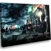 HD8920 Harry Potter and the Deathly Hallows Battle 16x12 FRAMED CANVAS PRINT