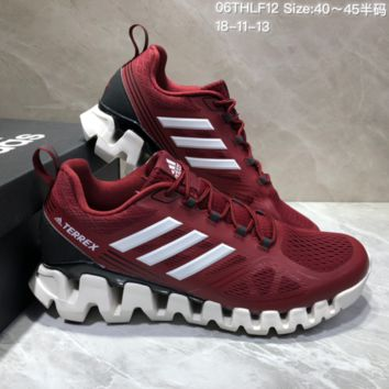 AUGUAU A478 Adidas Terrex High Frequency Breathable TPU Vamp Running Shoes Wine Red