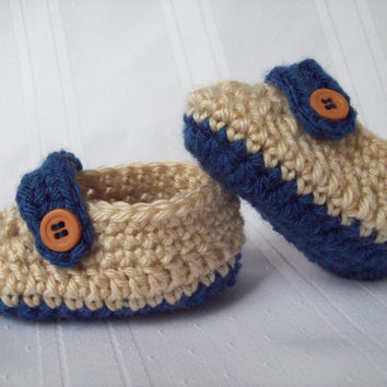 Crochet Baby Boy Loafers, Crochet Baby Shoes, Tan and Blue Baby Boy Shoes