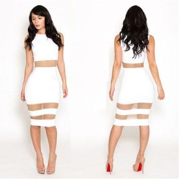 DCCK8BW NEW FASHION LACE PATCHWORK BODYCON BANDAGE COCKTAIL DRESS WOMEN SLEEVELESS WHITE CASUAL PARTY CLUBWEAR VESTIDOS