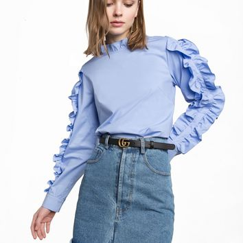 Double Ruffled Sleeve Shirt