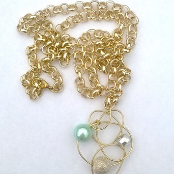 Mint Green Faux Pearl Beaded Wire Galaxy / Atom Nest Pendant Necklace