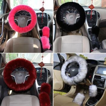 Furry Silky Steering Wheel Covers Set 3 Piece