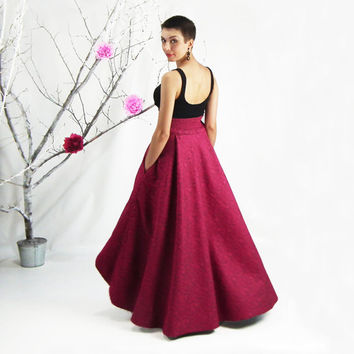 High Low Hem Skirt, Maxi Skirt, High Waisted Skirt, Plus Size Maxi Skirt, Circle Skirt, Full Skirt in Crimson, Maxi Skirt with Pockets