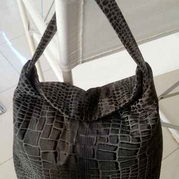 Hobo Bag brocade, flap with magnet to close, crocodile skin design, shinny black, grey, gold brown glints, casual chic