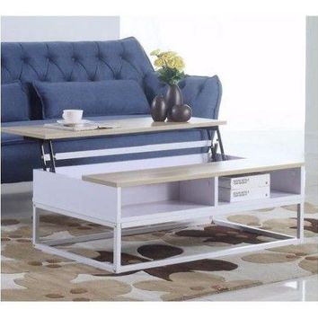 Coffee Table with Lift Top Hidden Storage Secret Over Couch White Wood Metal New