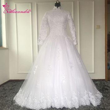 Real Photos Beaded High Neck Long Sleeves Vintage Wedding Dresses Muslim Wedding Dress Wedding Gowns Robe De Mariage