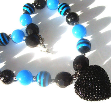 Black And Blue Chunky Beaded Necklace For Toddlers To Girls Black Rhinestone Heart