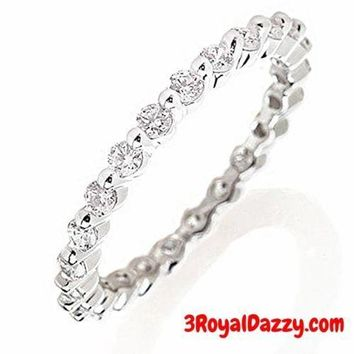 14k w Gold layer on Silver Wedding 0.75ct CZ Stackable Eternity Ring Band Size 7