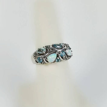 Vintage Blue Gemstone Ring - Alwand Vahan Ring Size 7 - Topaz and Opal Sterling Ring - Multistone Ring - Vintage Designer Signed Ring