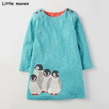 Little maven kids dresses for girls autumn baby girls clothes Cotton bird embroidered A-line dot cloth penguin dress S0254